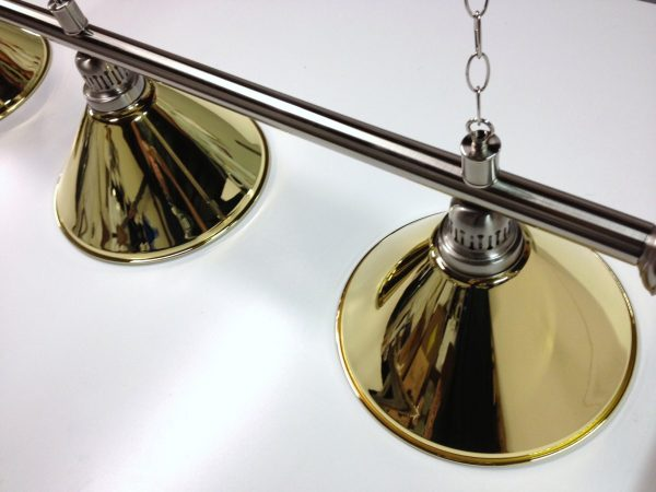 Brushed Stainless Light (3 x Brass Shades) 61 Inch