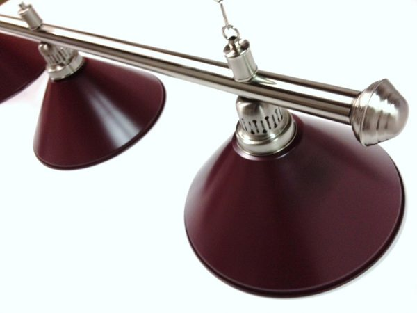 Brushed Stainless Light (3 x Burgundy Shades) 61 Inch