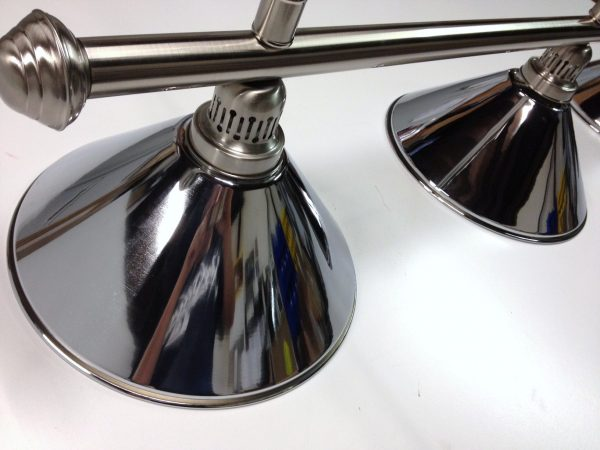 Brushed Stainless Light (3 x Chrome Shades) 61 Inch