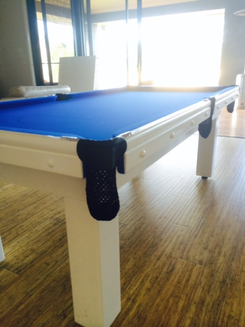 NPC Pool Table/Dinning 7ft Slate Top White with BLUE cloth
