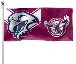 NRL Manly Sea Eagles Pole Flag LARGE 1800x900mm Licensed (Pole not included)