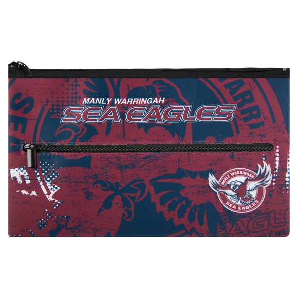 NRL Manly Sea Eagles QUALITY LARGE Pencil Case for School Work Stationary