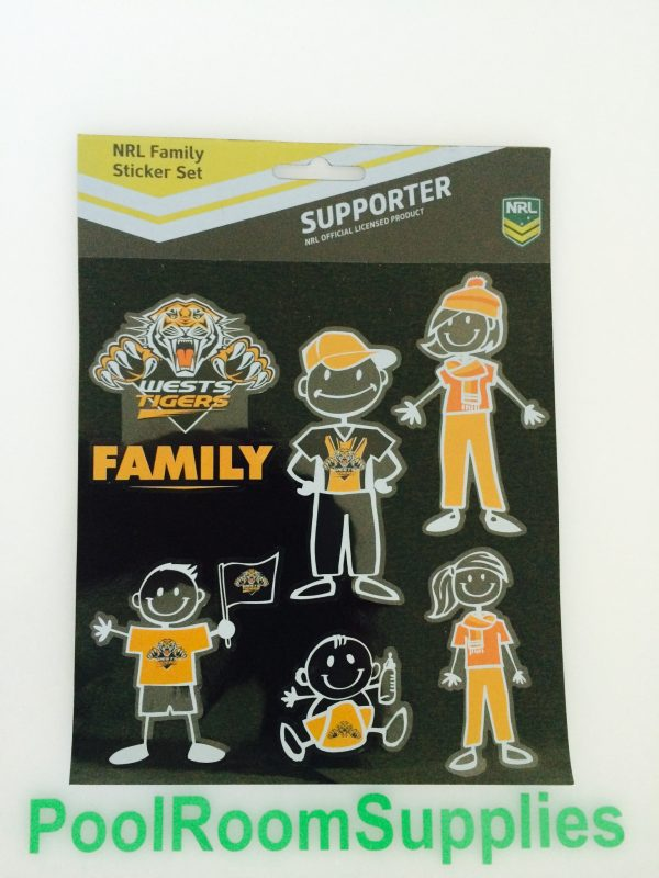 NRL Wests Tigers FAMILY Car Sticker Sheet