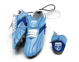 NRL State Of Origin NSW New South Wales Hanging Suction Footy Boots Gift