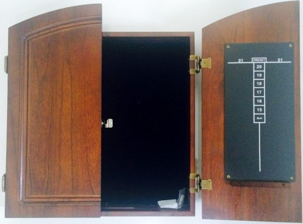 Dart Board Cabinet Case Hand Made Timber Cherry in Colour Black Felt Backing
