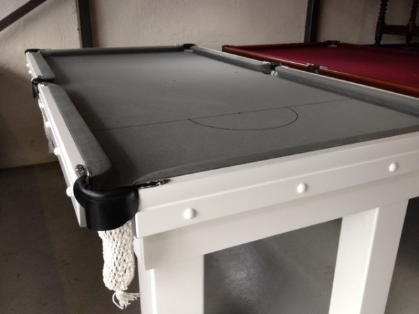 NPC Pool Table 7ft Slate Top White with Silver cloth