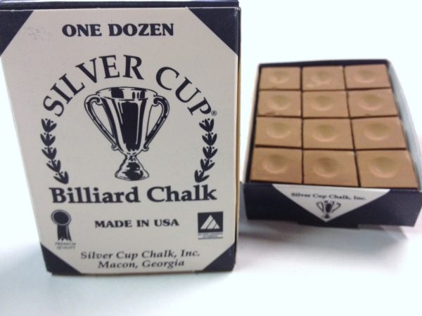Quality USA Silver Cup Pool Snooker Billiard Cue Tip Table Chalk BROWN