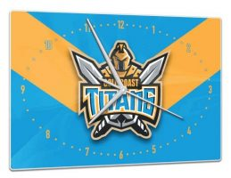 Licensed NRL Rugby League Team GOLD COAST TITANS Glass Clock