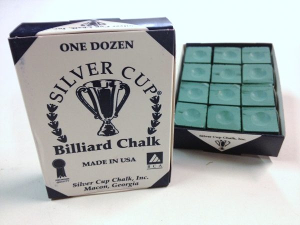 Quality USA Silver Cup Pool Snooker Billiard Cue Tip Table Chalk GREEN