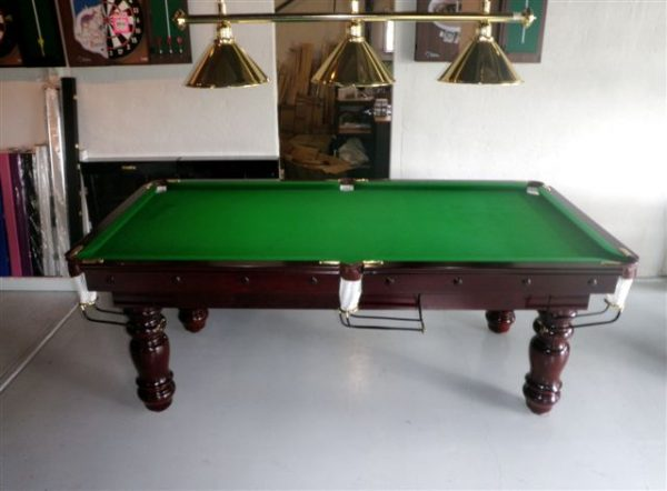 NPC Pool Table 7ft Classic Mahogany with Brass Brackets and Turned Legs