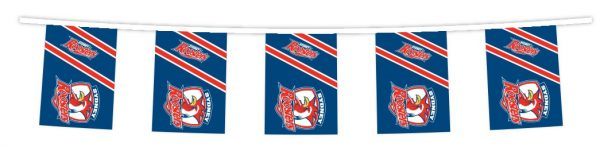 NRL SYDNEY ROOSTERS Bunting hanging Flag Banner 5m long with 12 flags