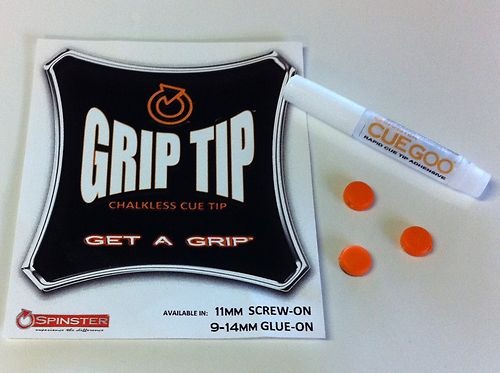 Spinster POOL, SNOOKER Cue Tip 3x NEW 13mm Glue on type Grip Tip + CUEGOO No Chalk Needed