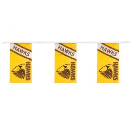 AFL Hawthorn Hawks Bunting hanging Flag Banner 5m long with 12 flags