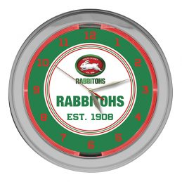 NRL South Sydney Rabbitohs EST 1908 Rugby League GLASS NEON Clock