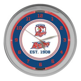 NRL Sydney Roosters EST 1908 Rugby League GLASS NEON Clock