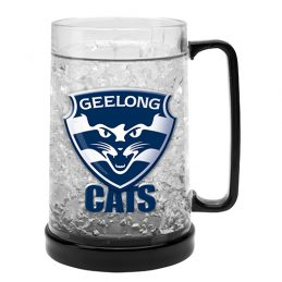LARGE AFL Geelong Cats Aussie Rules Freeze Beer Stein Frosty Mug Cup
