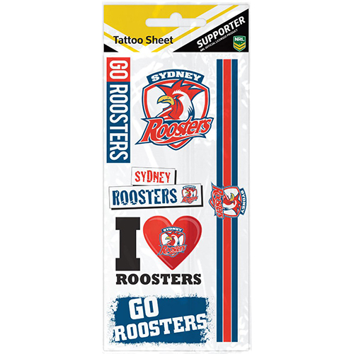 Sydney Roosters NRL Temporary TATTOO Sheet