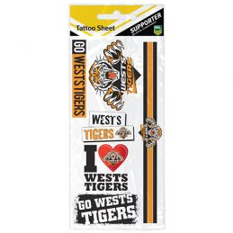 Wests Tigers NRL Temporary TATTOO Sheet