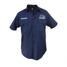Penrith Panthers NRL Short Sleeve Button Work Shirt: Navy