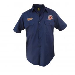Sydney Roosters NRL Short Sleeve Button Work Shirt: Navy