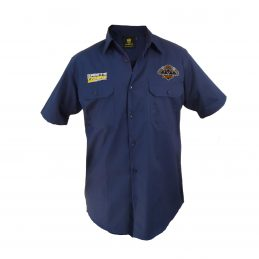 Wests Tigers NRL Short Sleeve Button Work Shirt: Navy