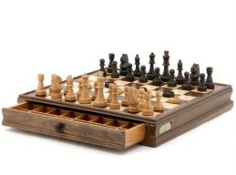 Quality DAL ROSSI Wooden Chess and Checkers Family Board Game