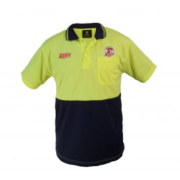 Sydney Roosters NRL Short Sleeve HI VIS Polo Work Shirt: Yellow/Navy