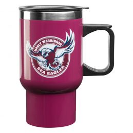 NRL Manly Warringah Sea Eagles Stainless Steel Thermal Insulated Travel Coffee Mug with Handle