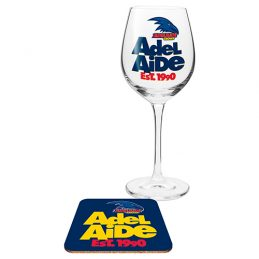 Adelaide Crows AFL WINE Glass and Coaster Gift Set