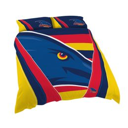 Adelaide Crows AFL DOUBLE Bed Quilt Doona Duvet Cover & Pillow Cases Set *NEW*