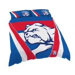 Western Bulldogs AFL DOUBLE Bed Quilt Doona Duvet Cover & Pillow Cases Set *NEW*