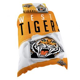 Wests Tigers NRL SINGLE Bed Quilt Doona Duvet Cover & Pillow Case Set *NEW*
