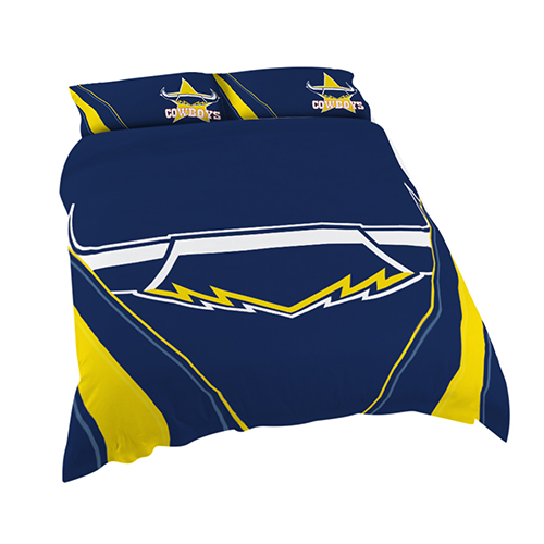 North QLD Queensland Cowboys NRL DOUBLE Bed Quilt Doona Duvet Cover & Pillow Cases Set *NEW*