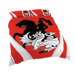 St George Illawarra Dragons NRL DOUBLE Bed Quilt Doona Duvet Cover & Pillow Cases Set *NEW*