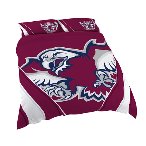 Manly Warringah Sea Eagles NRL DOUBLE Bed Quilt Doona Duvet Cover & Pillow Cases Set *NEW*