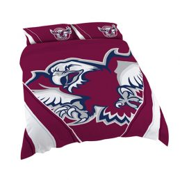 Manly Warringah Sea Eagles NRL QUEEN Bed Quilt Doona Duvet Cover & Pillow Cases Set *NEW*