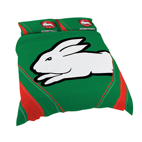South Sydney Rabbitohs NRL DOUBLE Bed Quilt Doona Duvet Cover & Pillow Cases Set *NEW*