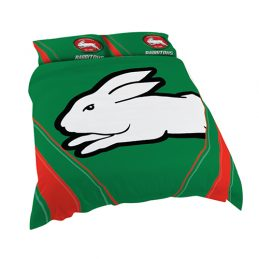 South Sydney Rabbitohs NRL QUEEN Bed Quilt Doona Duvet Cover & Pillow Cases Set *NEW*