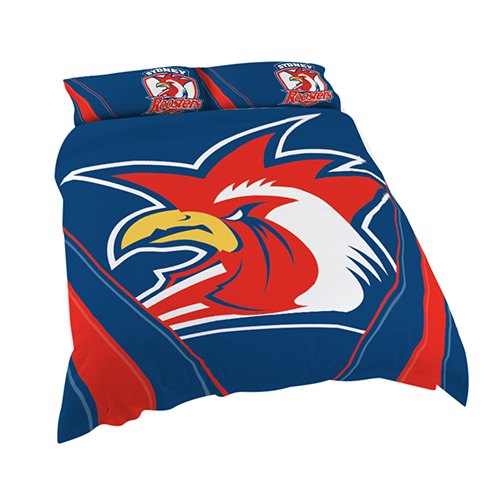 Sydney Roosters NRL DOUBLE Bed Quilt Doona Duvet Cover & Pillow Cases Set *NEW*