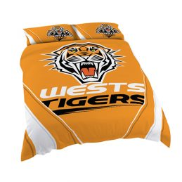 Wests Tigers NRL DOUBLE Bed Quilt Doona Duvet Cover & Pillow Cases Set *NEW*