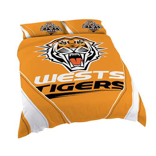 Wests Tigers NRL KING Bed Quilt Doona Duvet Cover & Pillow Cases Set *NEW*