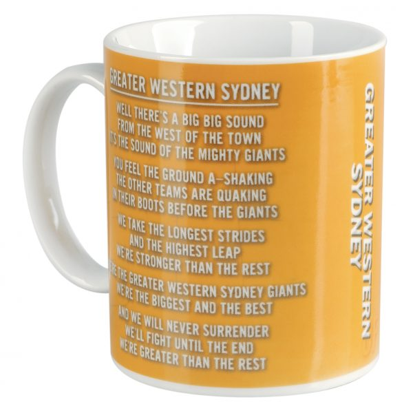 Greater Western Giants AFL Coffee Mug with Team Song 330ml