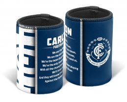 Carlton Blues AFL TEAM SONG Beer Can Bottle Cooler Stubby Holder Cosy