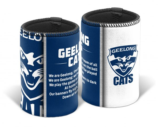Geelong Cats AFL TEAM SONG Beer Can Bottle Cooler Stubby Holder Cosy