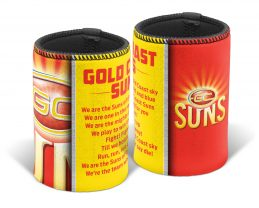 Gold Coast Suns AFL TEAM SONG Beer Can Bottle Cooler Stubby Holder Cosy