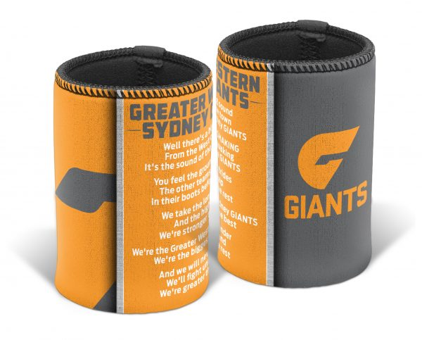 Greater Western Giants AFL TEAM SONG Beer Can Bottle Cooler Stubby Holder Cosy