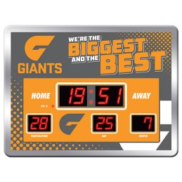 Licensed AFL GWS Greater Western Giants Aussie Rules Glass SCOREBOARD LED Clock Man Cave