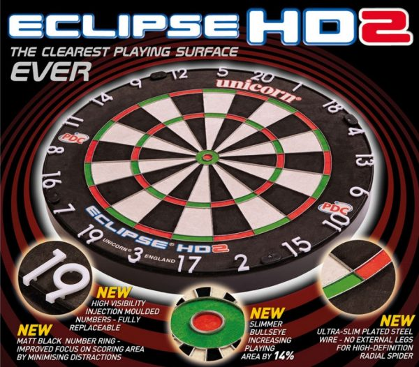Unicorn HD 2 HD2 Competition Dart Board Rosewood Wooden Cabinet + 6 Darts