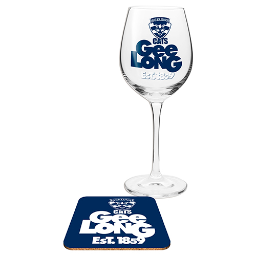 Geelong Cats AFL WINE Glass and Coaster Gift Set
