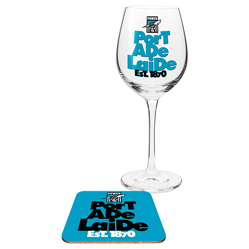 Adelaide Port Power AFL WINE Glass and Coaster Gift Set